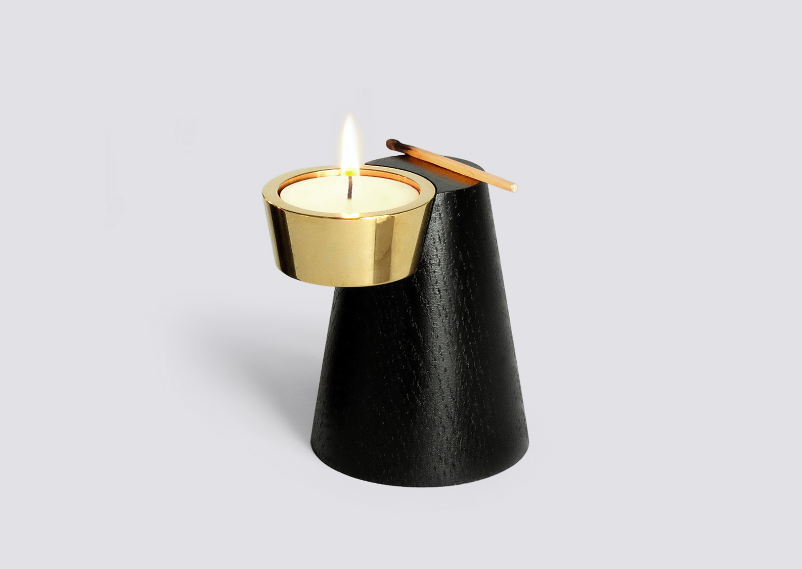 Faro Candle Holder One Black Brass Caussa