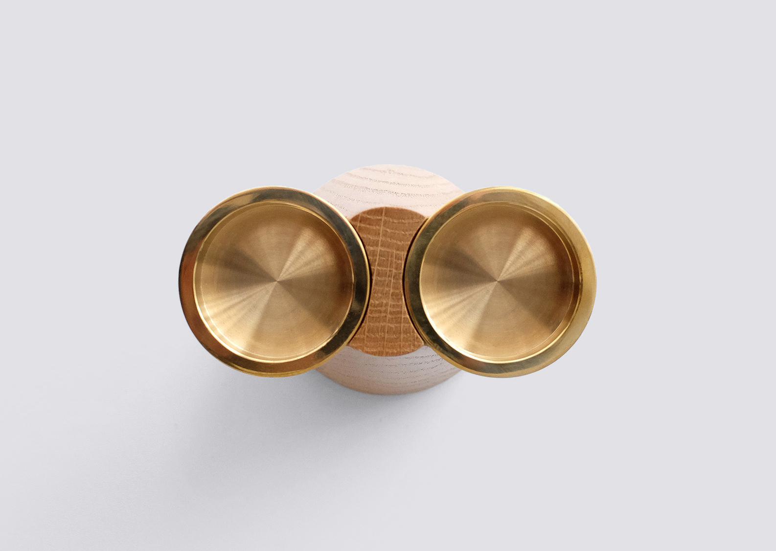 Faro Candle Holder Two Oak Brass Caussa