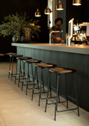 Group of Equo Design Bar Stools with Seat made out of Black Ash